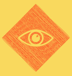 Eye sign red scribble icon vector