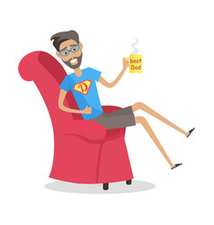 Father sitting in arm chair with cup of coffee vector