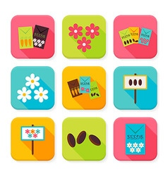 Flat Agriculture and Flowers Squared App Icons Set vector image