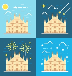 Flat design 4 styles of Duomo di Milano Italy vector image vector image