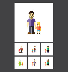 Flat icon relatives set of grandma son mother vector