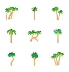 Green palms icons set cartoon style vector
