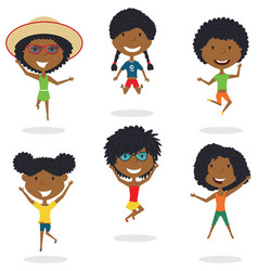 Happy african-american cartoon girsl jumping vector