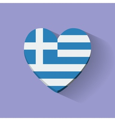 Heart-shaped icon with flag of Greece vector image vector image