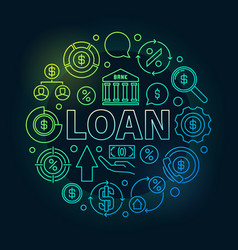 loan round outline colorful vector image vector image