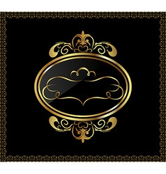 Luxury gold ornament with emblem vector