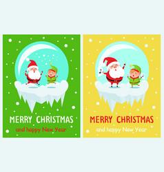 Merry christmas happy new year poster santa elf vector