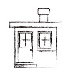 monochrome blurred silhouette of small house with vector image