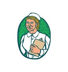 Nurse holding clipboard oval woodcut linocut vector