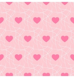 Pink romantic background with hearts and imitation vector image