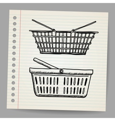 Plastic basket Doodle style vector image vector image