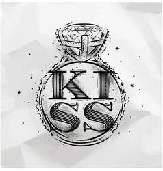 Poster ring kiss vector