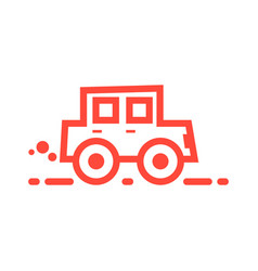 Red linear car icon vector