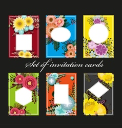 Set of invitation cards with colorful flowers vector