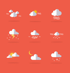 Set of weather icon flat vector