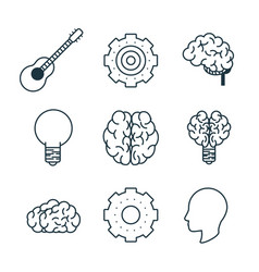 smart brain icons vector image