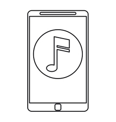 Smartphone music note digital app outline vector