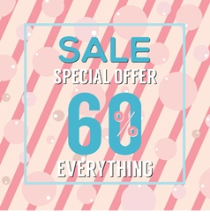 Special Offer 60 Percent On Pink Bubbles vector image