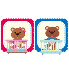 Teddy bears in pink and blue vector