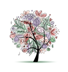 Tree with christmas decorations sketch for your vector image vector image