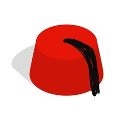 Turkish hat fez icon isometric 3d style vector