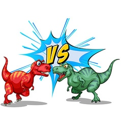 Two dinosaurs fighting each other vector