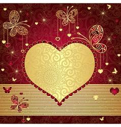 Vintage gold-red valentine frame vector image vector image