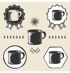 Vintage steel enamel cup outdoor symbol emblem vector
