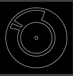 vinyl record retro sound carrier white color path vector image