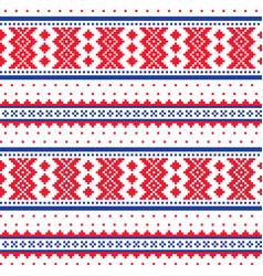 winter cross-stitch pattern sami folk art vector image vector image