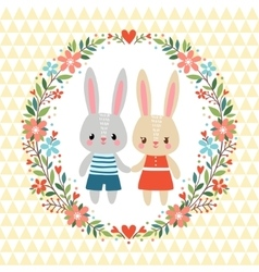 with bunnies vector image vector image