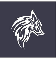 Wolf flat tattoo style logo design smoother vector