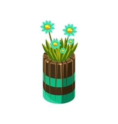 Wooden pot with flowers isometric garden vector
