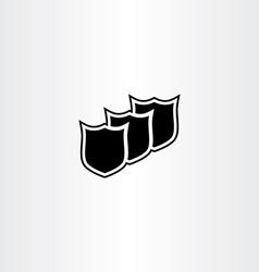 Black shield icon element vector