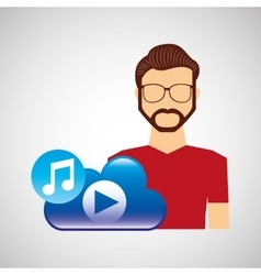 Cartoon man hipster cloud music play vector