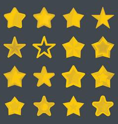 Set flat cartoon star icons vector