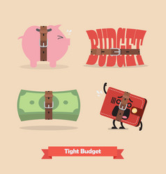Tight budget and recession shrinking economy vector