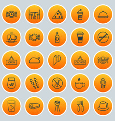 Icons set collection of mocha stick barbecue vector