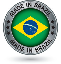 Made in brazil silver label with flag vector