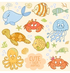 Sea set animals vector