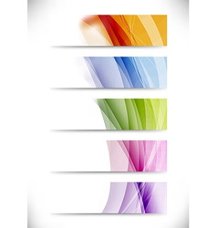 Modern swoosh wave bright cards set vector