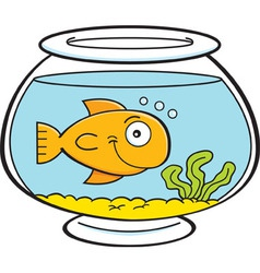 Cartoon goldfish bowl vector