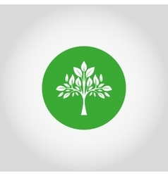 Tree on a green button vector