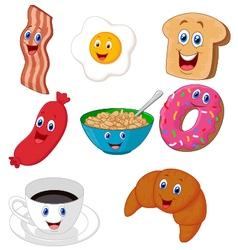 Breakfast cartoon collection vector image