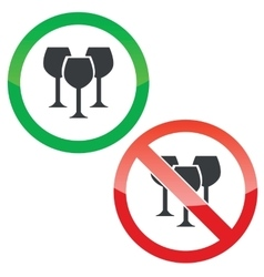 Wine permission signs set vector