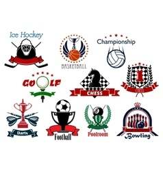 Sport and leisure icons or symbols vector