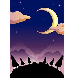 Silhouette nature scene at night vector