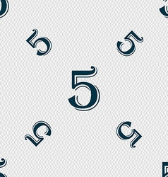 Number five icon sign seamless pattern with vector
