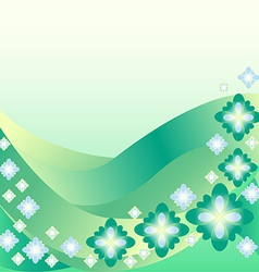 Abstract background of wave and flowers vector image