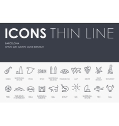 Barcelona thin line icons vector